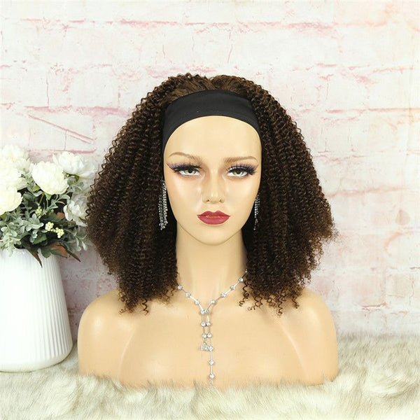 Headband Wig #4 Color 3C4A Kinky Curly Human Hair5