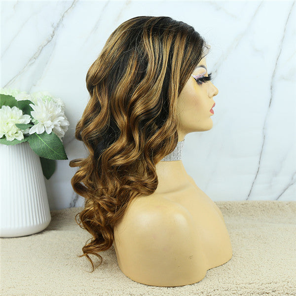 Ombre T1B/8 Bright Brown 5x5 Lace Closure Wig Body Wave BCW855