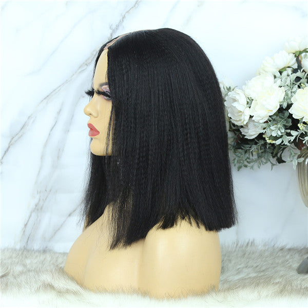 U Part Wig Yaky Straight BOB Human Hair UOST-1