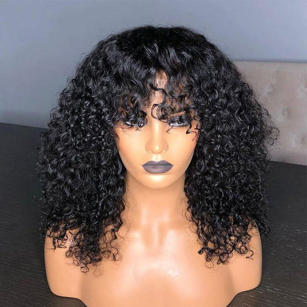 Pre Plucked Deep Curly With Bangs 360 Lace Frontal Wig 1