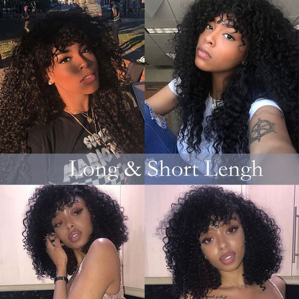 Pre Plucked Deep Curly With Bangs 360 Lace Frontal Wig 3