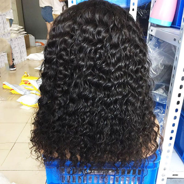 Pre Plucked Deep Curly With Bangs 360 Lace Frontal Wig BWD-8