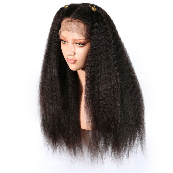 Pre Plucked Kinky Straight Full Lace Wig Human Hair 4
