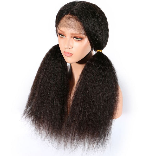 Pre Plucked Kinky Straight Full Lace Wig Human Hair 5