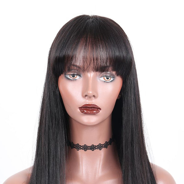 Pre Plucked Silky Straight With Bangs 360 Lace Frontal Wig 6