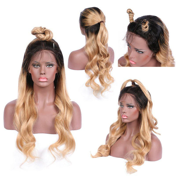 Pre Plucked Ombre #1BT27 Body Wave 360 Lace Frontal Wig PWB-T9