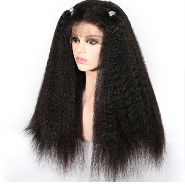 Transparent Lace Kinky Straight 13x4 Lace Front Wig2