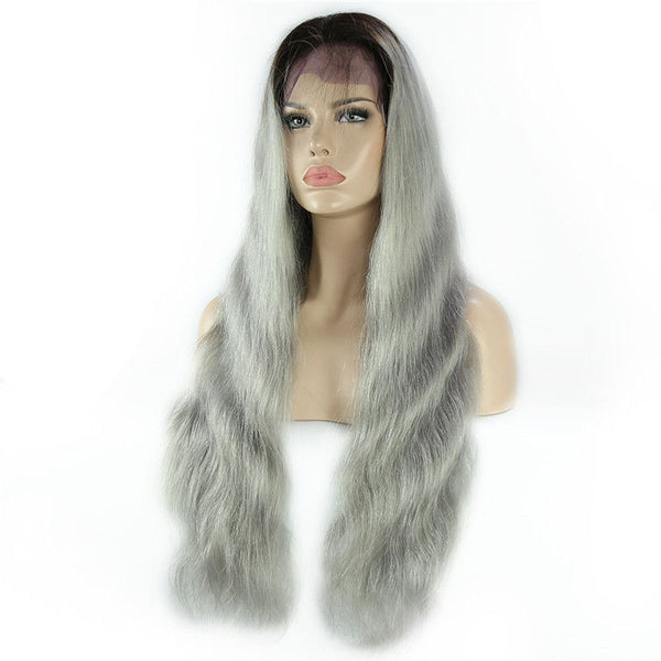 Ombre #1B/Grey Body Wave Lace Front Wig Human Hair BBWT2