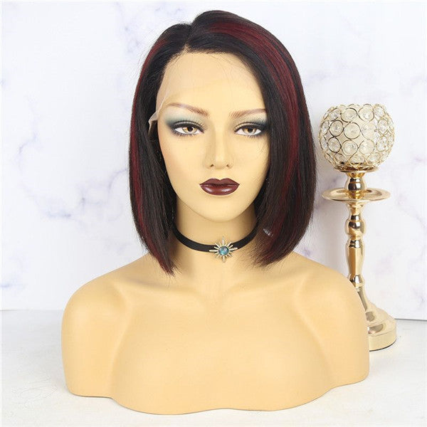 Pre Plucked Natural Color With Highlights 13x6 Lace Front BOB Wig 10AOBTC