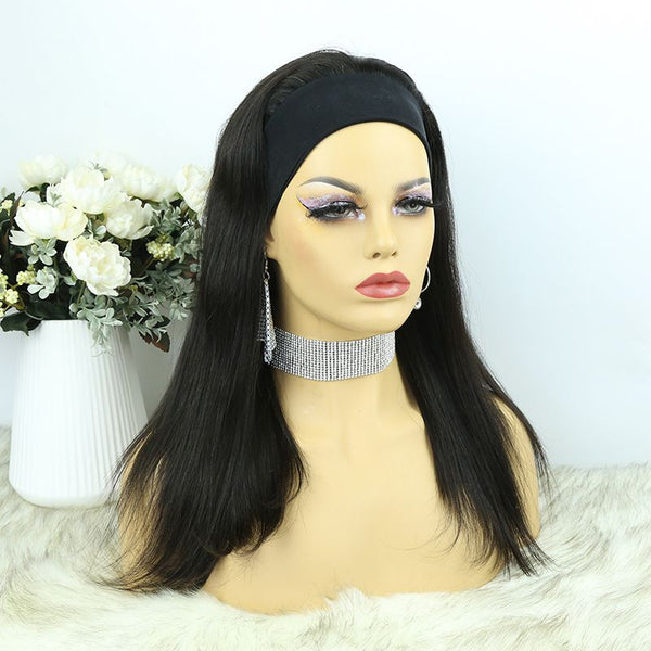 Headband Wig Silky Straight Human Hair HBWT-1
