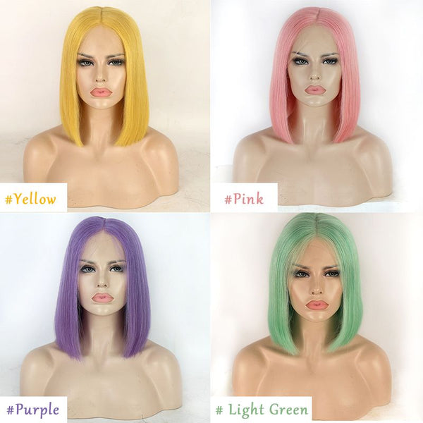 Colored Wigs BOB Straight Lace Front Wig Human Hair OBBT-G