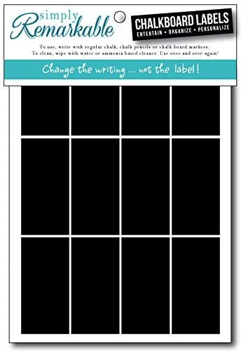 "Reusable Chalk Labels - 40 Rectangle Shape 2"" x 1"" Chalkboard Stickers Wipe Clean and Reuse, for Organizing, Decorating, Crafts, Personalized Hostess Gifts, Wedding and Party Favors"