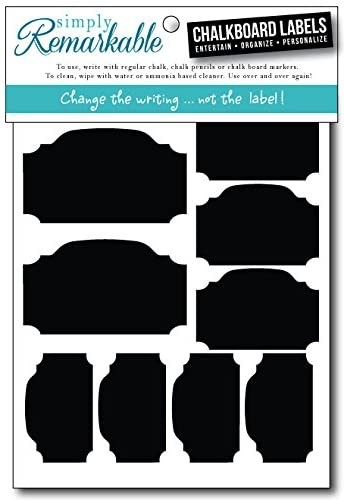 Reusable Chalk Labels - 22 Plaque Shape Chalkboard Stickers in 3 Sizes Wipe Clean and Reuse Organizing, Decorating, Crafts, Personalized Hostess Gifts, Wedding and Party Favors