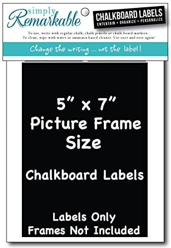 "Picture Frame Size Chalkboard Labels Chalk Stickers (4, 5"" X 7"")"