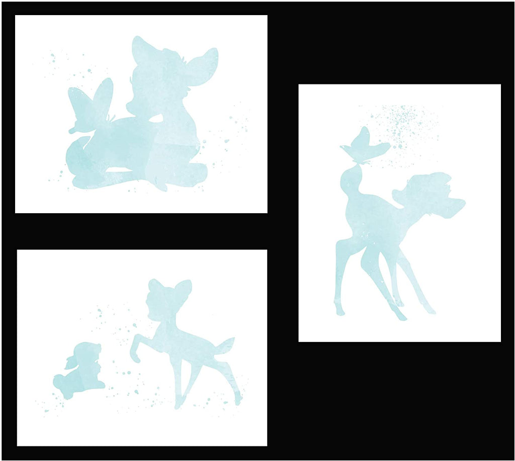 Inspired by Bambi - Set of 3 Beautiful Watercolor Poster Prints are Photo Quality and Made in USA - Disney Bambi and Thumper Nursery Decor - Frame not Included (8x10, Blue)