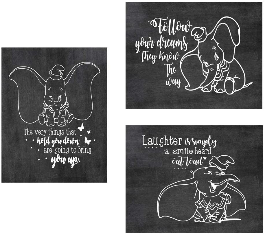 "Dumbo Poster Print Photo Quality - Made in USA - Disney Family House Rules - Frame not Included (8"" x 10"", Chalk 3 Pack)"
