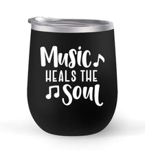 Load image into Gallery viewer, Music Heals The Soul - Choose your cup color & create a personalized tumbler for Wine Water Coffee & more! Premier Maars Brand 12oz insulated cup keeps drinks cold or hot Perfect gift