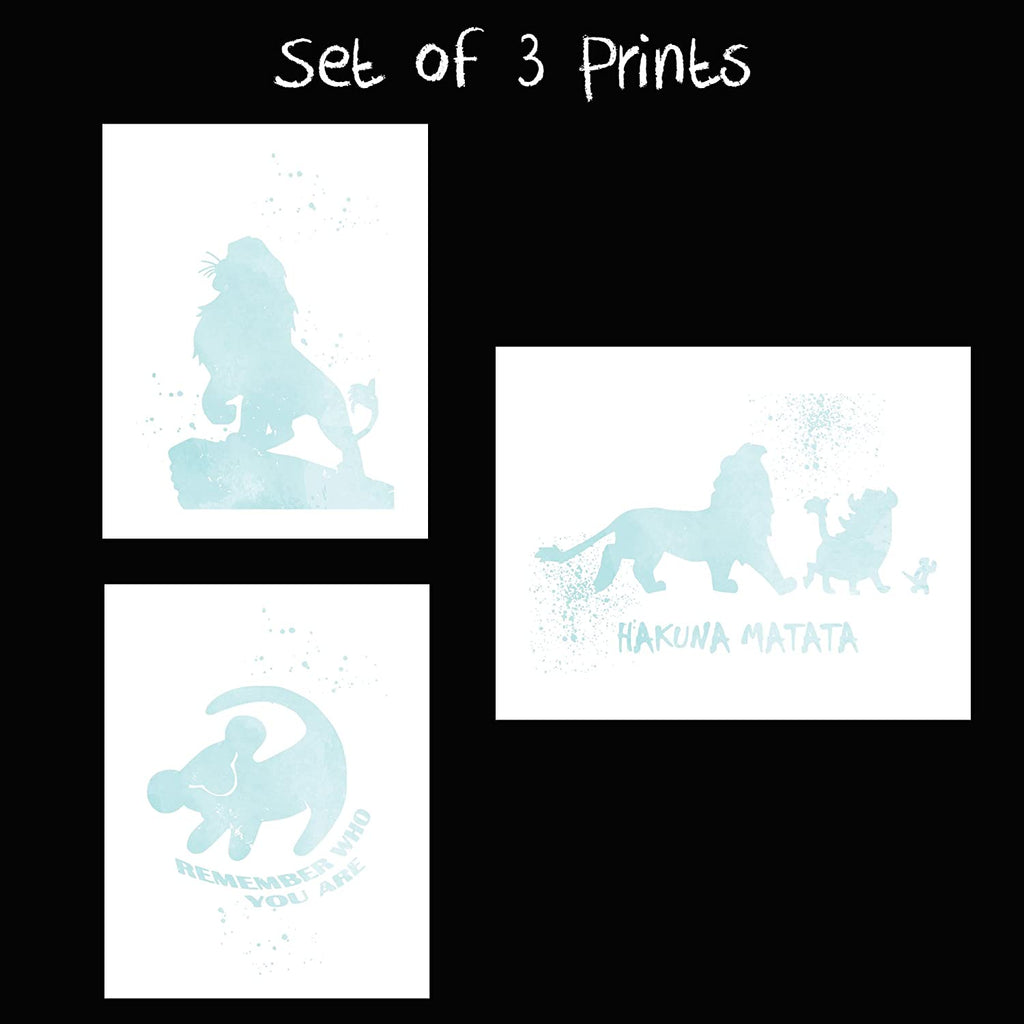 Lion King and Disney Inspired Set of 3 Poster Print Photo Quality - Nursery and Home Decor Made in USA - Frame not Included (8x10, Blue Set 3)