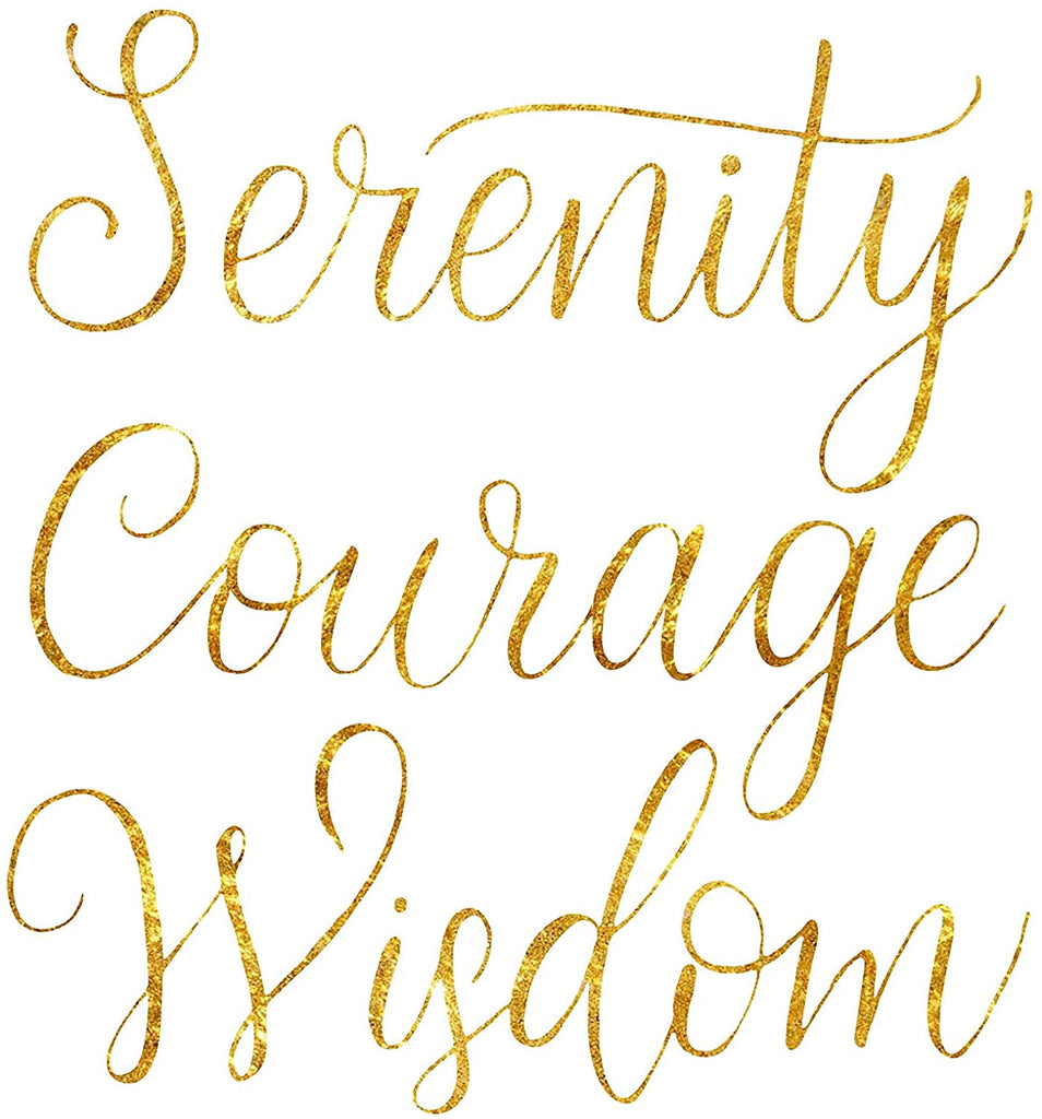 Serenity Courage Wisdom Poster Print Photo Quality - Inspirational Wall Art for Alcoholics Anonymous, AA, Narcotics Anonymous, NA - Made in USA (8x10, Gold)