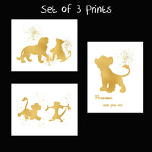 Load image into Gallery viewer, Lion King and Disney Inspired Set of 3 Poster Print Photo Quality - Nursery and Home Decor Made in USA - Frame not Included (8x10, Gold Set 3)