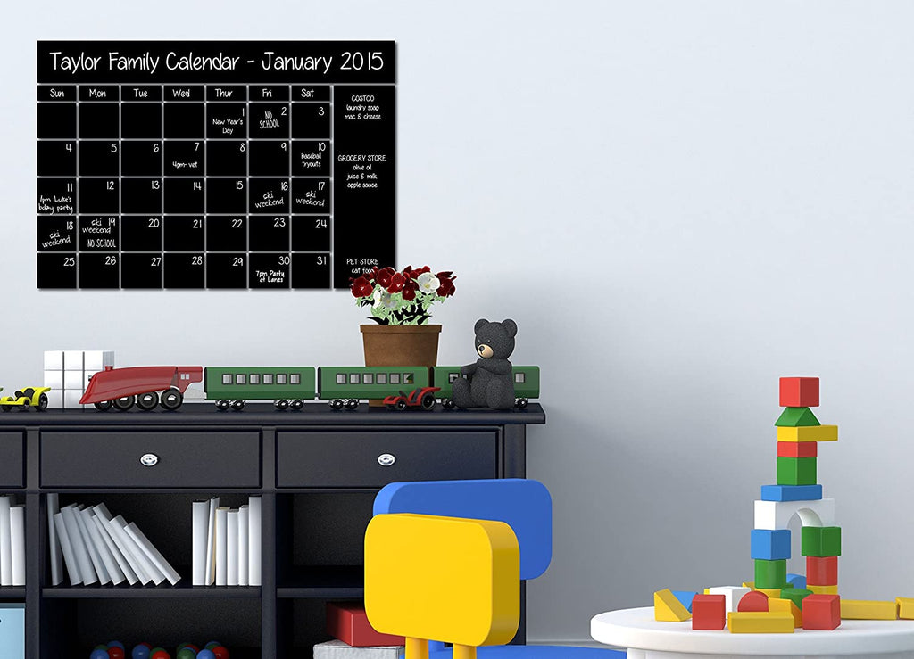 "22""x16"" Chalkboard Sticker Calendar Wall Decal with Notes Area and Chalk Pen Chalkboard Marker (22""x16"")"