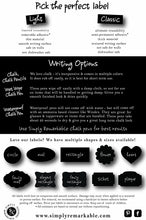Load image into Gallery viewer, Reusable Chalk Labels - 20 Heart Shapes in 3 Sizes Chalkboard Stickers Wipe Clean and Reuse Organizing, Decorating, Crafts, Personalized Hostess Gifts, Wedding and Party Favors