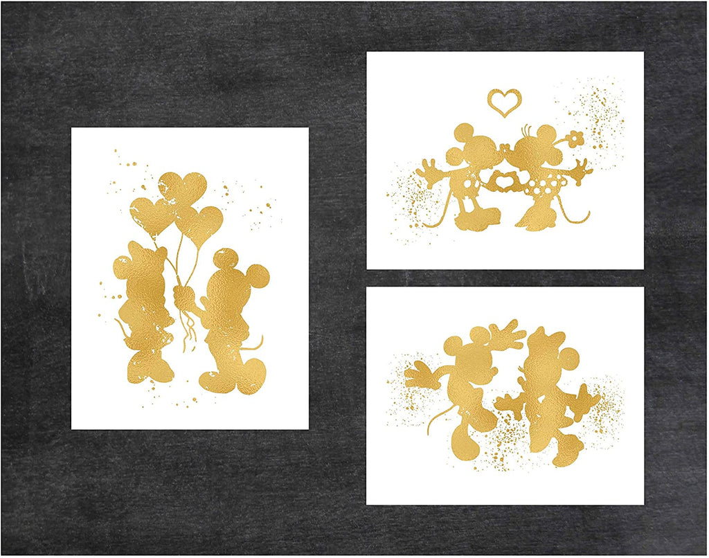 Gold Print Inspired by Mickey and Minnie Mouse Love and Friendship - Gold Poster Print Photo Quality - Made in USA - Disney Inspired - Home Art Print -Frame not included (11x14, 3 Pack)