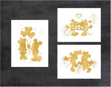Load image into Gallery viewer, Gold Print Inspired by Mickey and Minnie Mouse Love and Friendship - Gold Poster Print Photo Quality - Made in USA - Disney Inspired - Home Art Print -Frame not included (11x14, 3 Pack)