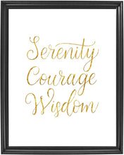 Load image into Gallery viewer, Serenity Courage Wisdom Poster Print Photo Quality - Inspirational Wall Art for Alcoholics Anonymous, AA, Narcotics Anonymous, NA - Made in USA (8x10, Gold)