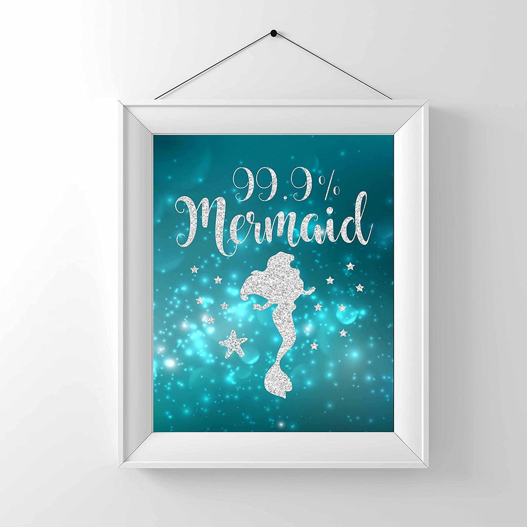 99% Mermaid Print Photo Quality - Made in USA - Under The sea - Mermaid Tale Inspired - Home Art Print -Frame not Included (8x10, Aqua 99%)