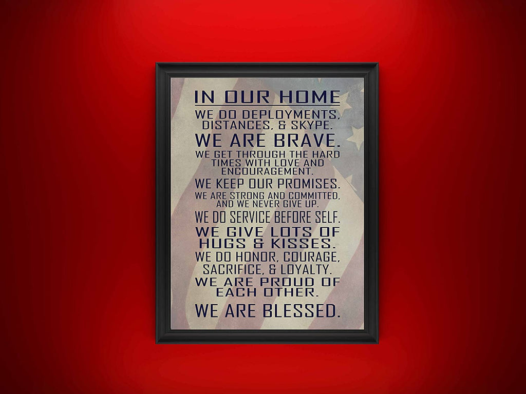 "Military Family Wall Poster Print - in Our Home - House Rules - Army, Navy, Marines, Air Force - Patriotic - 4th of July - Frame Not Included (11"" x 14"", Flag)"