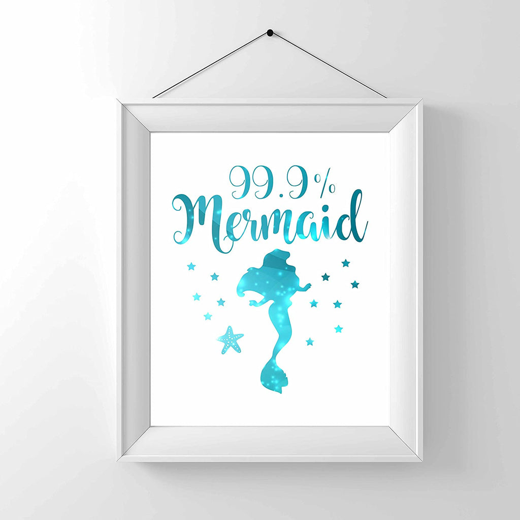 99% Mermaid Print Photo Quality - Made in USA - Under The sea - Mermaid Tale Inspired - Home Art Print -Frame not Included (8x10, White 99%)