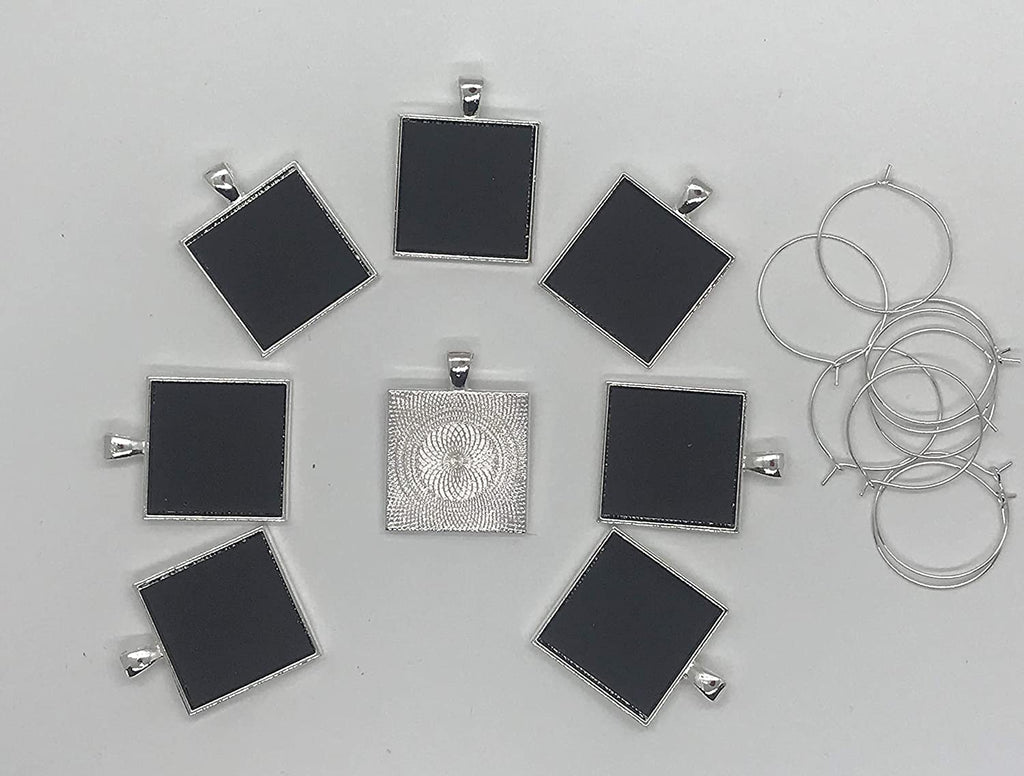 Reusable Personalized Wine Charms 8 Mini Chalkboard Squares on Silver Plated Pendants, Can be Wiped Clean and Reused.