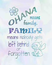 Load image into Gallery viewer, Lilo and Stitch - Ohana Means Family - Inspired by Lilo and Stitch - Poster Print Photo Quality - Made in USA - Disney Inspired - Home Art Print -Frame not included (11x14, Ohana Watercolor)