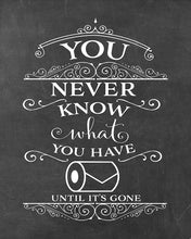 "Load image into Gallery viewer, You Never Know What You Have Until It's Gone! Change The Toilet Paper - Chalkboard Poster Print, Bathroom Humor, Made in The USA, Frame NOT Included (8"" x 10"", Change World)"
