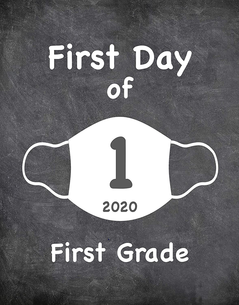 "First Day of School Art Print for 2020. Unframed Reusable Photo Prop for Kids and Parents Back to School Sign. Masked, zoomed and remote learning 8"" x 10"" (8"" x 10"" Chalk, 1st Grade)"