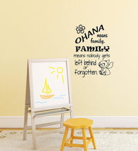 "Load image into Gallery viewer, Ohana Means Family. Family Means Nobody Gets Left Behind or Forgotten - Vinyl Wall Decal Sticker - Made in USA - Inspired by Disney and Lilo and Stitch (11"" x 15"", Black)"
