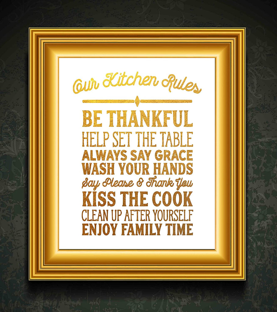 "Kitchen Rules - Beautiful Photo Quality Poster Print - Decorate your home with these beautiful prints for kitchen, bath, family room, housewarming gift Made in the USA (8"" x 10"", Kitchen Rules Gold)"