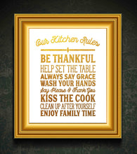 "Load image into Gallery viewer, Kitchen Rules - Beautiful Photo Quality Poster Print - Decorate your home with these beautiful prints for kitchen, bath, family room, housewarming gift Made in the USA (8"" x 10"", Kitchen Rules Gold)"