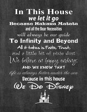 Load image into Gallery viewer, in This House We Do Disney - Poster Print Photo Quality - Made in USA - Disney Family House Rules - Frame not Included (11x14, Chalkboard Background)
