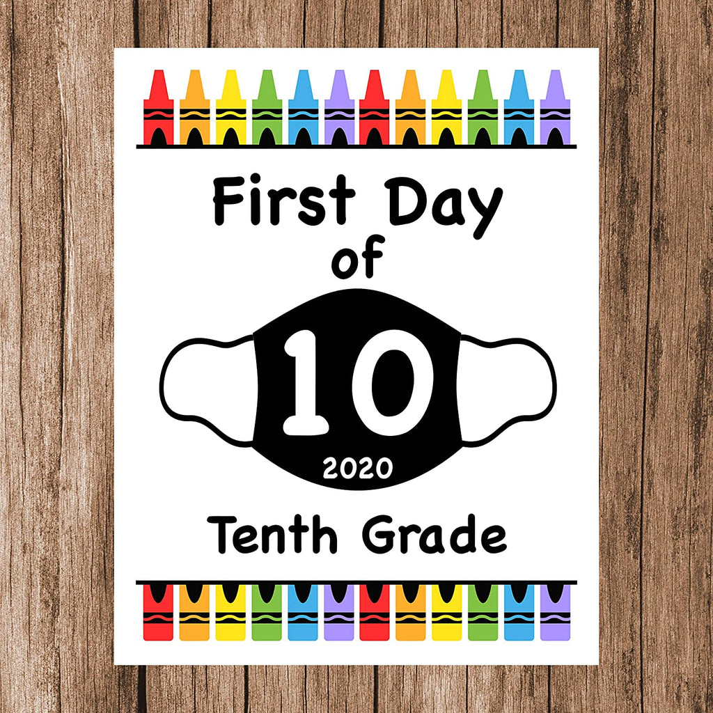 "First Day of School Art Print for 2020. Unframed Reusable Photo Prop for Kids and Parents Back to School Sign. Masked, zoomed and remote learning 8"" x 10"" (8"" x 10"" Color, Year of Mask)"