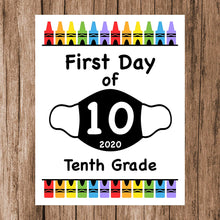 "Load image into Gallery viewer, First Day of School Art Print for 2020. Unframed Reusable Photo Prop for Kids and Parents Back to School Sign. Masked, zoomed and remote learning 8"" x 10"" (8"" x 10"" Color, Year of Mask)"