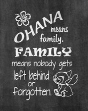 Load image into Gallery viewer, Ohana Means Family - Inspired by Lilo and Stitch - Chalkboard Background Poster Print Photo Quality - Made in USA - Disney Inspired - Home Art Print -Frame not included (8x10, Ohana Chalkboard)