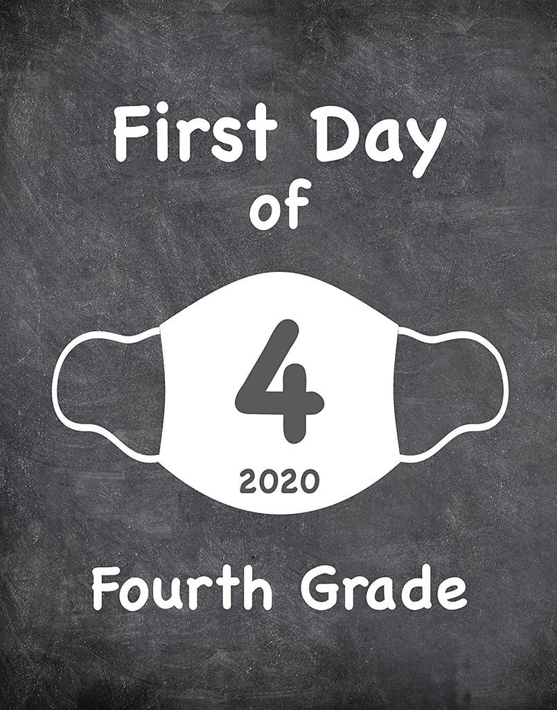 "First Day of School Art Print for 2020. Unframed Reusable Photo Prop for Kids and Parents Back to School Sign. Masked, zoomed and remote learning 8"" x 10"" (8"" x 10"" Chalk, 4th Grade)"