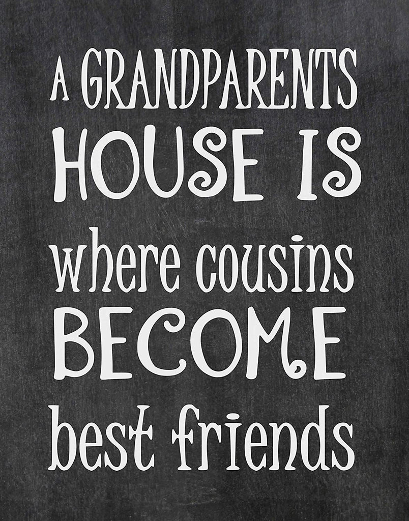 Cousins Become Best Friends at Grandparents - Beautiful Photo Quality Chalkboard Background Poster Print - - Made in The USA (8x10, Cousins - Chalkboard)