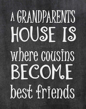 Load image into Gallery viewer, Cousins Become Best Friends at Grandparents - Beautiful Photo Quality Chalkboard Background Poster Print - - Made in The USA (8x10, Cousins - Chalkboard)