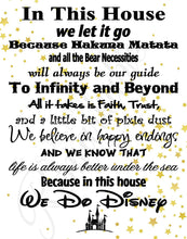 Load image into Gallery viewer, in This House We Do Disney - Poster Print Photo Quality - Made in USA - Disney Family House Rules - Ready to Frame - Frame not Included (8x10, White with Stars Background)