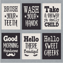 "Load image into Gallery viewer, Bathroom Prints - Set of six - Decorate Your Bathroom with These 5"" x 7"" Prints. Funny and Humorous Bathroom and Home Decor (5"" x 7"", Set 1)"