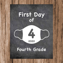 "Load image into Gallery viewer, First Day of School Art Print for 2020. Unframed Reusable Photo Prop for Kids and Parents Back to School Sign. Masked, zoomed and remote learning 8"" x 10"" (8"" x 10"" Chalk, 4th Grade)"