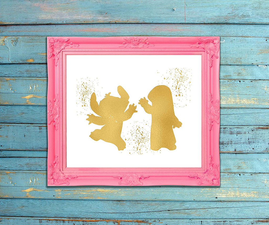 Lilo and Stitch - Ohana Means Family - Gold Print Inspired by Lilo and Stitch - Poster Print Photo Quality - Made in USA - Disney Inspired - Home Art Print -Frame not included (8x10, LSDance)